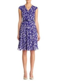 Print Inverted Pleats Seam Detail Dress