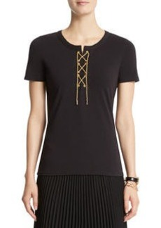 Short Sleeve Lace Up Top