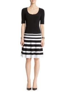 Squareneck Color Block Dress