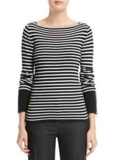 Stripe Boat Neck Pullover