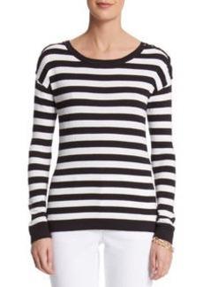 Stripe Lace Shoulder Pullover