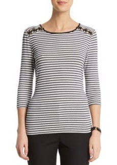 Stripe Pullover With Lace