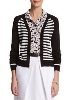 Stripe Zip Up Cardigan