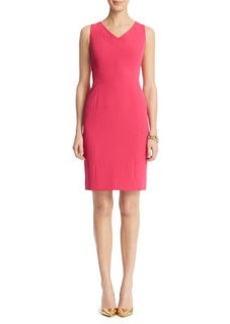 V-Neck Seamed Sheath Dress