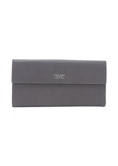 Armani anthracite leather dual snap flap continental wallet