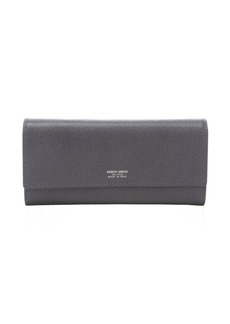 Armani anthracite leather logo stamp continental wallet