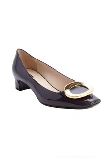 Armani aubergine leather gold buckle detail pumps