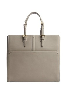 Armani beige leather open top tote
