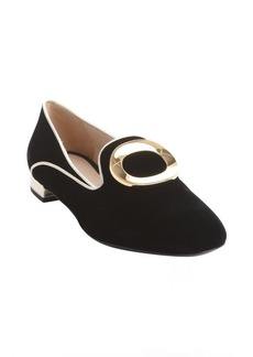 Armani black and gold suede leather trimmed slip-on loafers