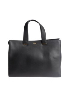 Armani black leather and suede top handle tote