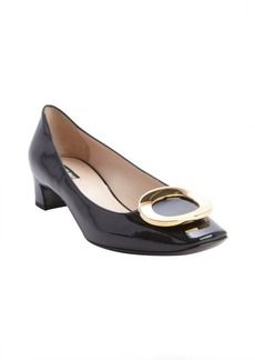 Armani black leather gold buckle detail pumps