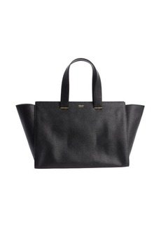 Armani black leather shopping tote