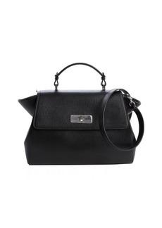 Armani black leather top handle bag