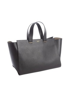 Armani black textured leather shopper tote