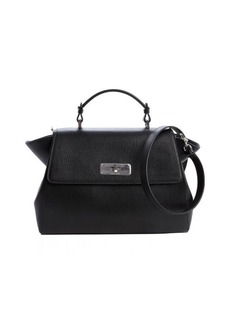 Armani black textured leather top handle bag