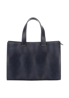Armani blue navy leather top handle bag