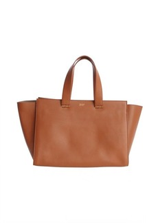 Armani brown leather shopping tote