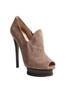 Armani brown suede snake embossed platform booties