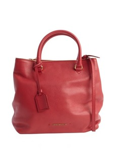 Armani cherry leather logo imprint convertible top handle bag