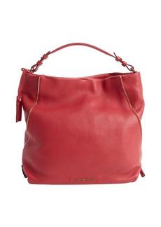 Armani cherry leather zip detail logo stamp tote