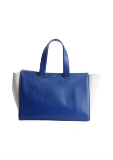 Armani cobalt and ivory leather suede shopping tote