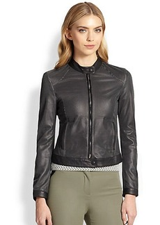 Armani Collezioni Perforated-Leather Moto Jacket
