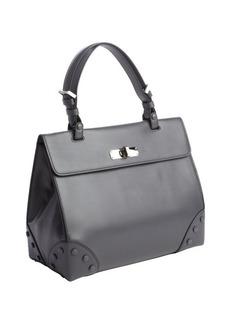Armani dark grey calfskin top handle tote bag
