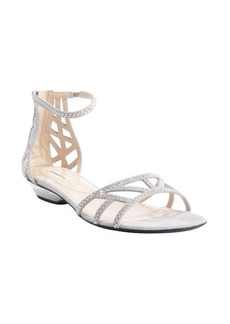 Armani grey suede beaded detail strappy sandals