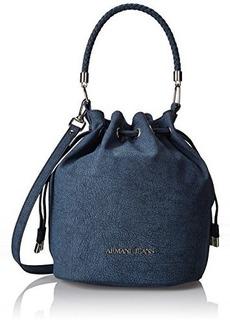 Armani Jeans Marble Printed Drawstring Bucket Shoulder Bag