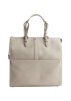 Armani light taupe pebbled leather 'Bauletto Medio' top handle bag