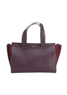 Armani must and plum leather leather logo stamp top handle bag