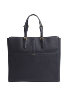 Armani navy leather open top tote