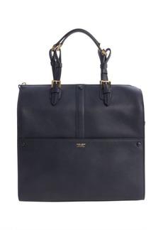 Armani navy leather top handle bag