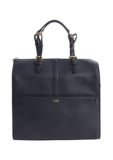 Armani navy leather top handle bag