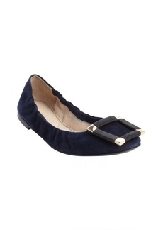 Armani navy suede buckle detail flats