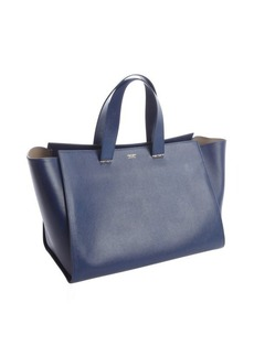 Armani navy textured leather shopper tote