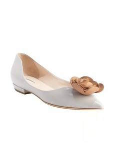 Armani pearl leather pointed toe rose detail pumps