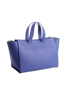 Armani periwinkle leather shopper tote