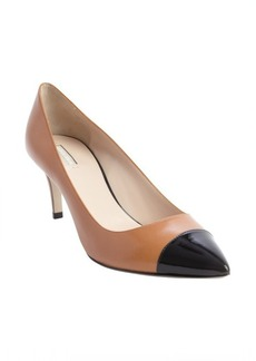 Armani tan and black leather pointed cap toe pumps
