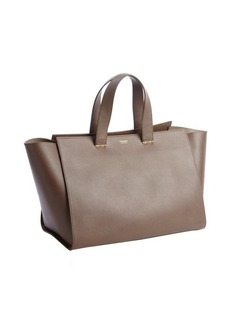 Armani taupe textured leather shopper tote
