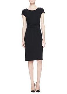 Cap-Sleeve Drape-Waist Sheath Dress   Cap-Sleeve Drape-Waist Sheath Dress