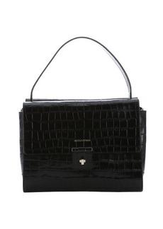 Emporio Armani black croc-embossed calfskin 'Jackie' convertible top handle bag