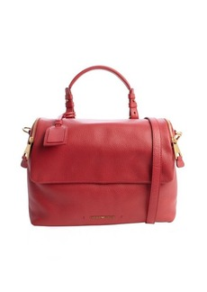Emporio Armani cherry leather convertible top handle doctor bag