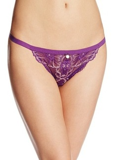 Emporio Armani Women's Floral Lace with Grosgrain Detail Thong