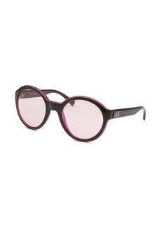 Armani Exchange Women's Round Black & Transparent Purple Sunglasses