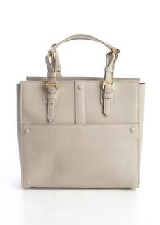 Giorgio Armani beige leather buckle detail top handle tote