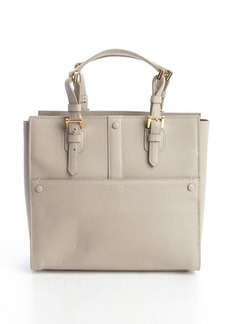 Giorgio Armani beige leather buckle detail top handle tote
