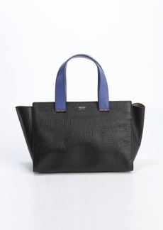 Giorgio Armani black and blue leather logo stamp top hand bag