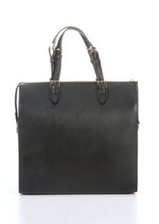 Giorgio Armani black and red pebbled leather top zip tote