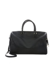 Giorgio Armani black leather 'Agnello' top handle large bag